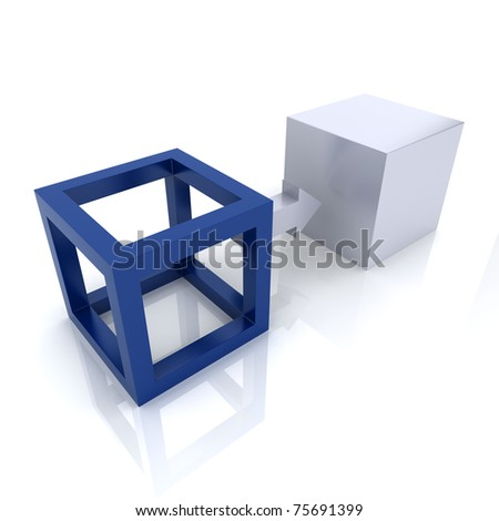Illustration with two cubes transformation concept (blue collection) - stock photo