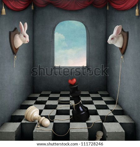 Illustration with two rabbits playing chess in  room. - stock photo