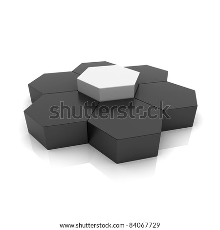 Illustration with union of frame hexagons (union concept) - stock photo