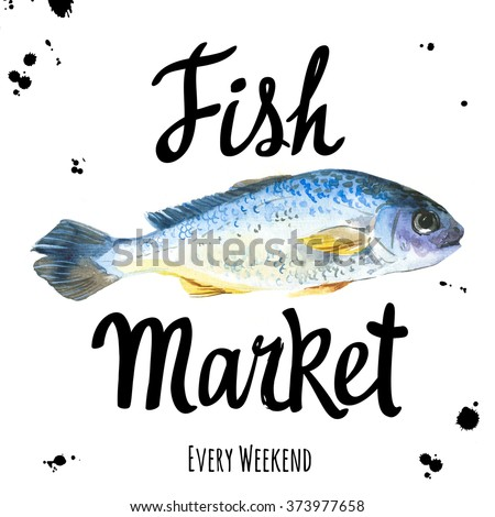 Illustration With Watercolor Dorado Fish Market Poster For Seafood Menu Hand Painting