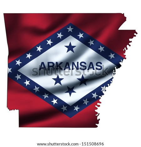 Illustration with waving flag inside map - Arkansas - stock photo
