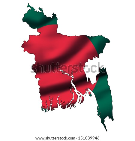 Illustration with waving flag inside map - Bangladesh