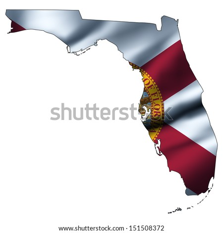 Illustration with waving flag inside map - Florida