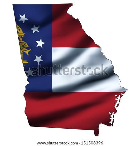 Illustration with waving flag inside map - Georgia - stock photo