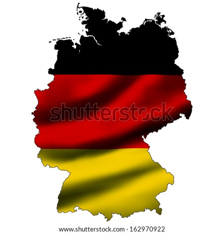 Illustration with waving flag inside map - Germany