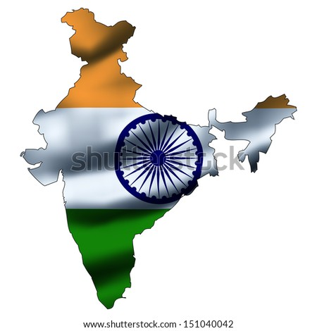 Illustration with waving flag inside map - India