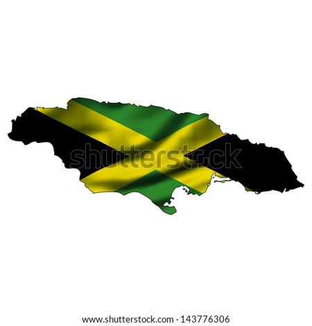 Illustration with waving flag inside map - Jamaica