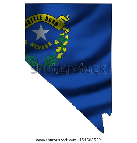 Illustration with waving flag inside map - Nevada