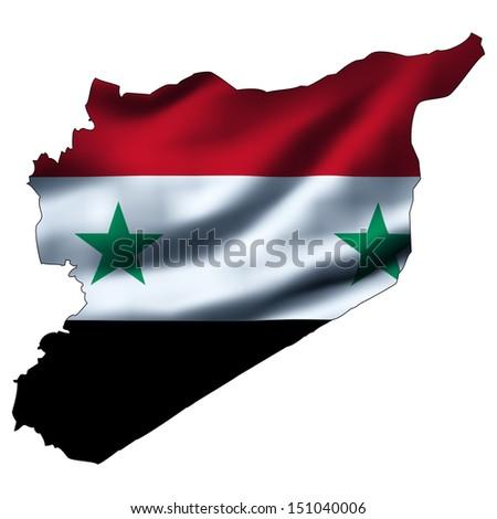 Illustration with waving flag inside map - Syria - stock photo