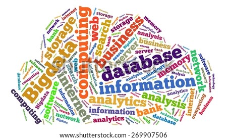 Illustration with word cloud on Big data - stock photo