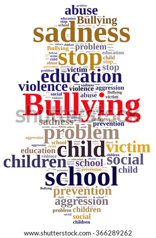 Illustration with word cloud relating to Bullying. - stock photo