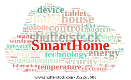 Illustration with word cloud with the word Smarthome. - stock photo