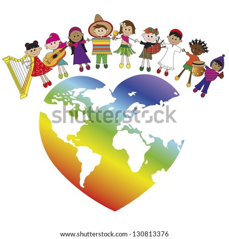 illustration with world and some children - stock photo