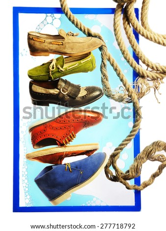 illustration with yellow green black red and blue shoe ,a rope in blue background - stock photo