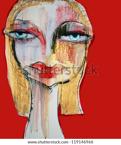 Illustration, Woman, Face Drawing - stock photo