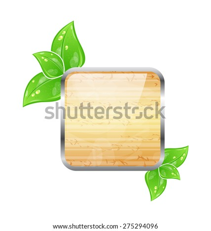Illustration wooden square board with eco green leaves - raster - stock photo