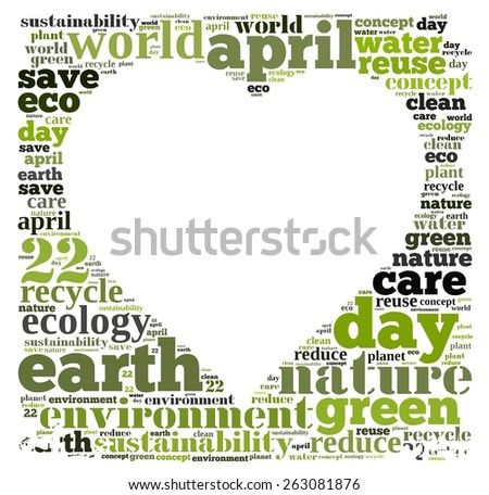 Illustration word cloud on earth day April 22.