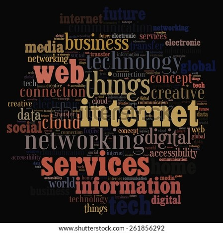 Illustration word cloud on the internet of things - stock photo
