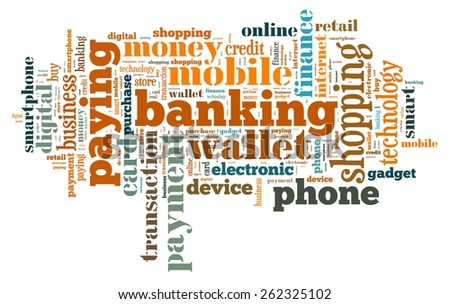 Illustration word cloud on the phone wallet - stock photo