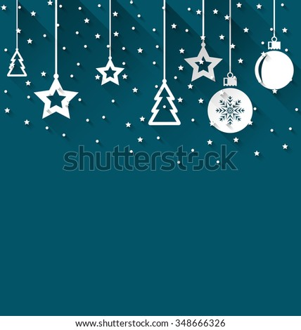 Illustration Xmas background with fir, balls, stars, trendy flat style - raster - stock photo
