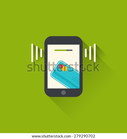 Illustrations black smartphone with processing of mobile payments from credit card on the screen, flat modern design style - raster - stock photo