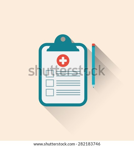 Illustrations medical record clipboard and pencil with long shadows - raster - stock photo