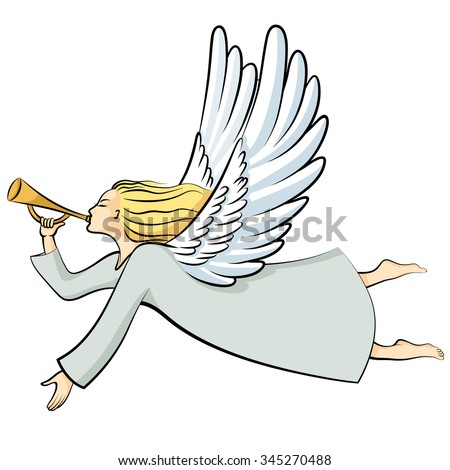 Illustrations Cartoon Christmas Angel Blowing Trumpet Stock ...