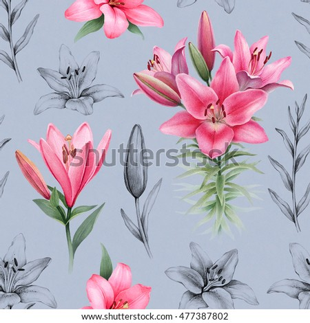 Illustrations of lily flowers. Seamless pattern