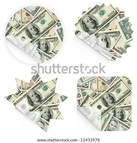 Illustrations of money stickers with Dollar banknotes. Blank and isolated.