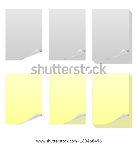 Illustrations of sheets of paper. - stock photo