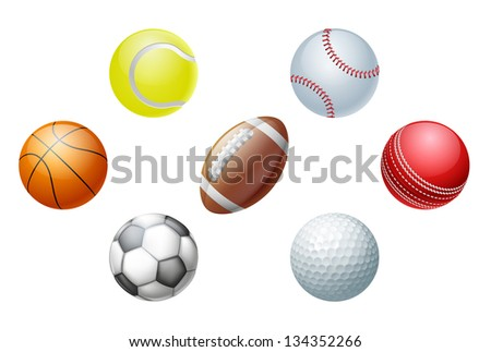 Illustrations of sports ball icons, including cricket ball, football and soccer ball, baseball ball and tennis ball, golf ball and basket ball.