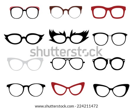 Illustrations of stylish and funny glasses - stock photo