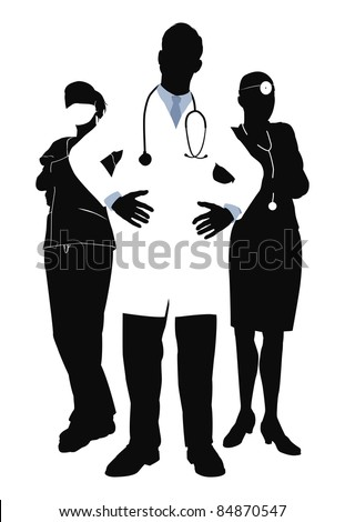 Illutsration of three members of a medical team - stock photo
