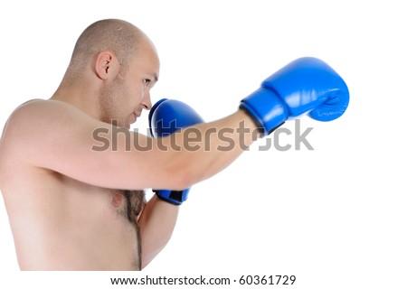 Image boxer punches. Isolated on white background - stock photo