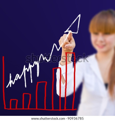image businesswoman with write happy graph - stock photo