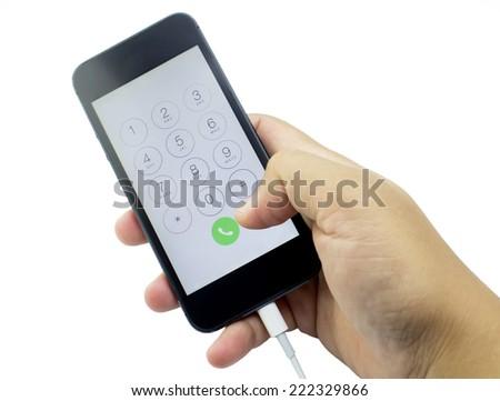 image  Charging  mobile phone on white background - stock photo