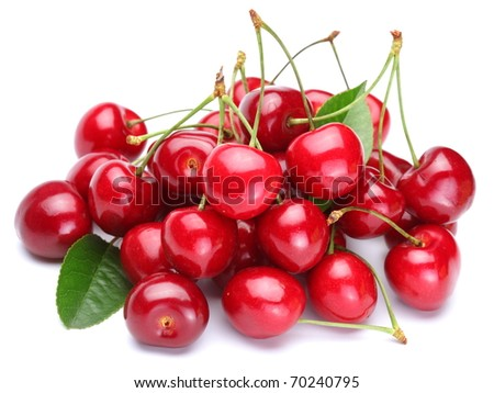Image cherries on a white background - stock photo