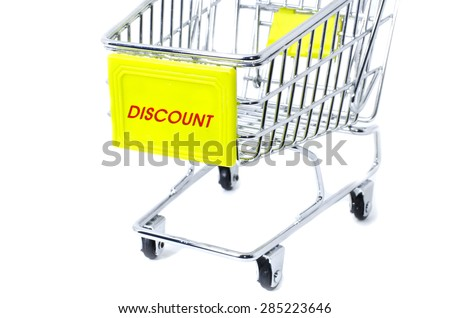 image concept cropped trolley with word discount isolated white background - stock photo