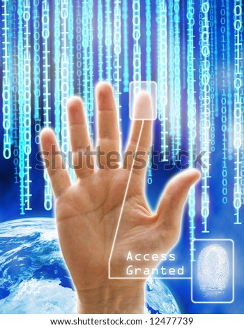 Image concept of security and technology. All the images are computering generated except the hand that is a phisical photography. - stock photo