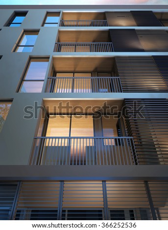 Image 3D rendering of hotel terrace or condominium terrace. Architectural construction graphic idea.