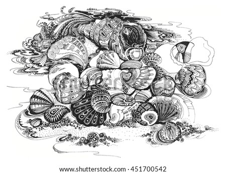 image decorative sea shells on the sand at high tide the waves in the technique of hand drawing - stock photo