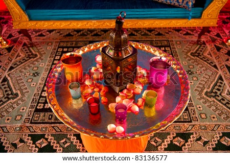 Image detail of a table setting at an indian wedding - stock photo