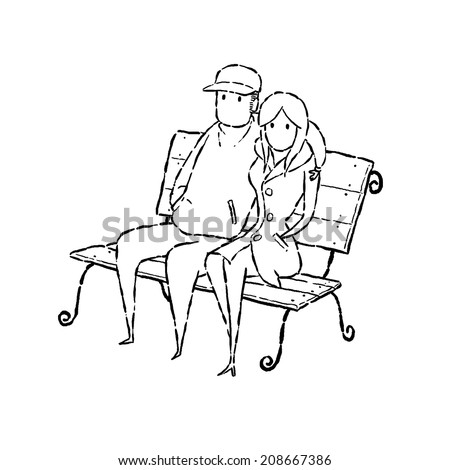 image drawing cartoon style of couple on chair