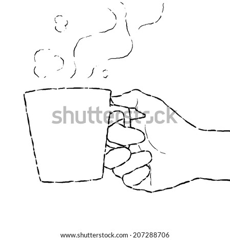 image drawing cartoon style of hand holding cup of coffee