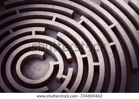 Image from above of a circular maze - stock photo