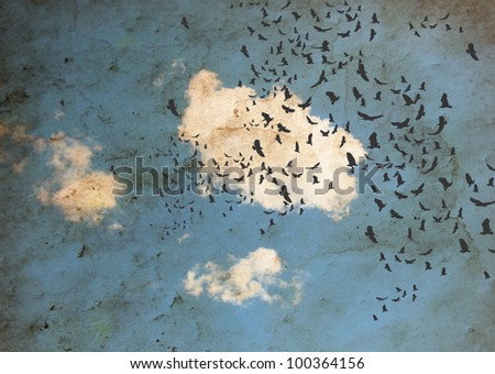 image from old paper and clouds texture series - stock photo