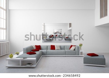 Image in image on a canvas on a wall in a bright loft (3D Rendering) - stock photo