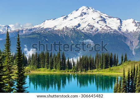 Image lake and Glacier Peak in Washington,USA - stock photo