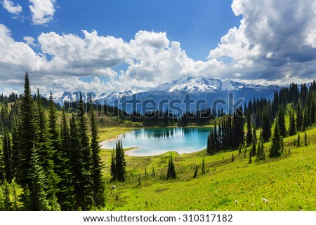 Image lake and Glacier Peak in Washington, USA - stock photo