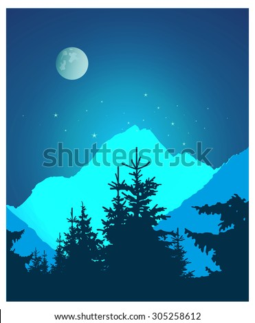 Image landscape. Silhouette of coniferous trees and snowy rocks on the background of night sky and full moon.